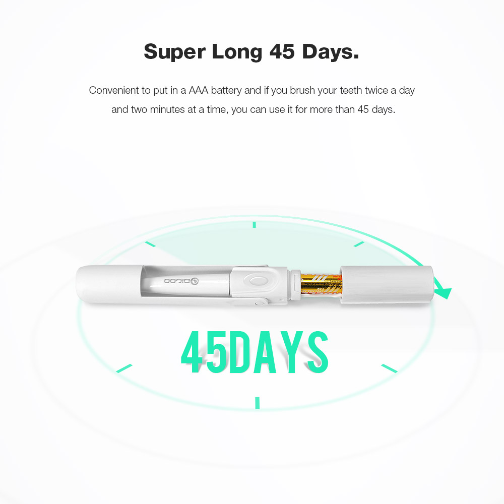 [2019 Third Digoo Carnival] Digoo DG-LS11 Electric Sonic Folding Travel Toothbrush with 2 Replacement Head Protable IPX7 Waterproof