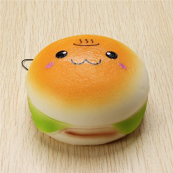 Squishy Toys 10cm Soft Kawaii Emoji Bread Hamburger Mobile Phone Decor Phone Bag Strap Pendant