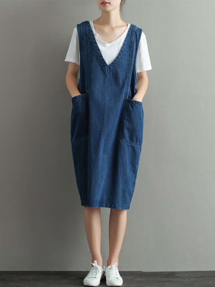 Casual Denim Women V-neck Sleeveless Pockets Dress