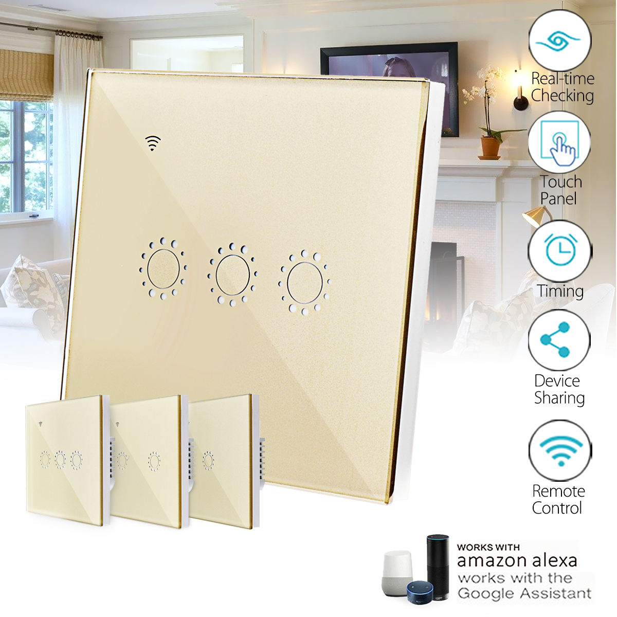 86mm WIFI Smart Wall Touch Switch Panel Housing APP Control For Echo Alexa Google Home