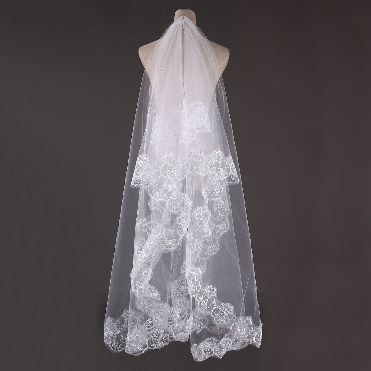 3M Bride White Ivory Elegant Cathedral Length Wedding Bridal Veil With Lace Edge