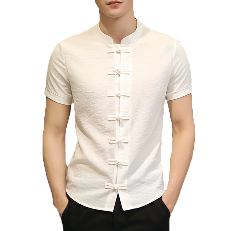 Mens Chinese Style Ethnic Stand Collar Slim Fit Shirt Tops