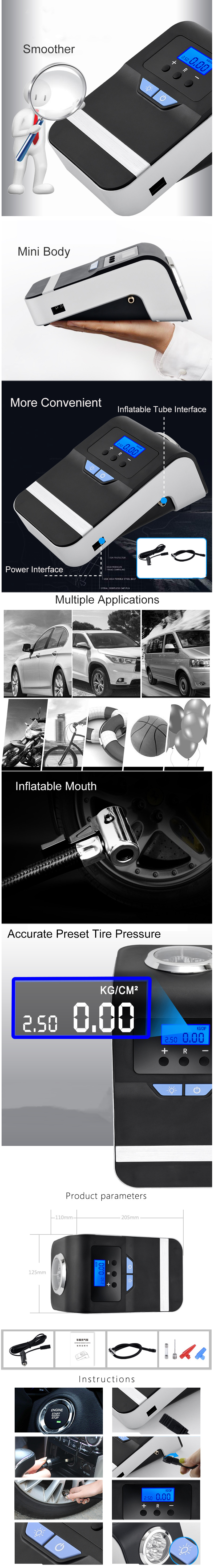 Intelligent Air Pump 12V 120W Big Screen LED Lighting 3 Modes Accurate Preset Tire Pressure for Bicycle/ Car/ Motorcycle/ Basketball