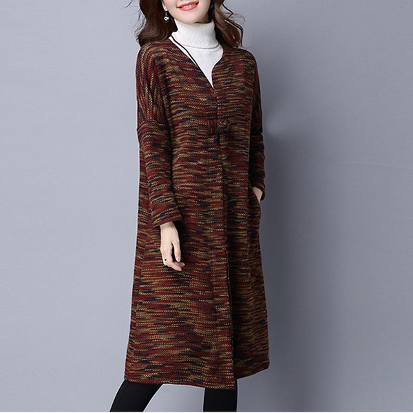 Winter Vintage Long Sleeve Knitted Loose Sweater Women Coat