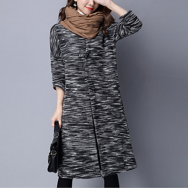 Winter Vintage Long Sleeve Knitted Loose Sweater Women Coat