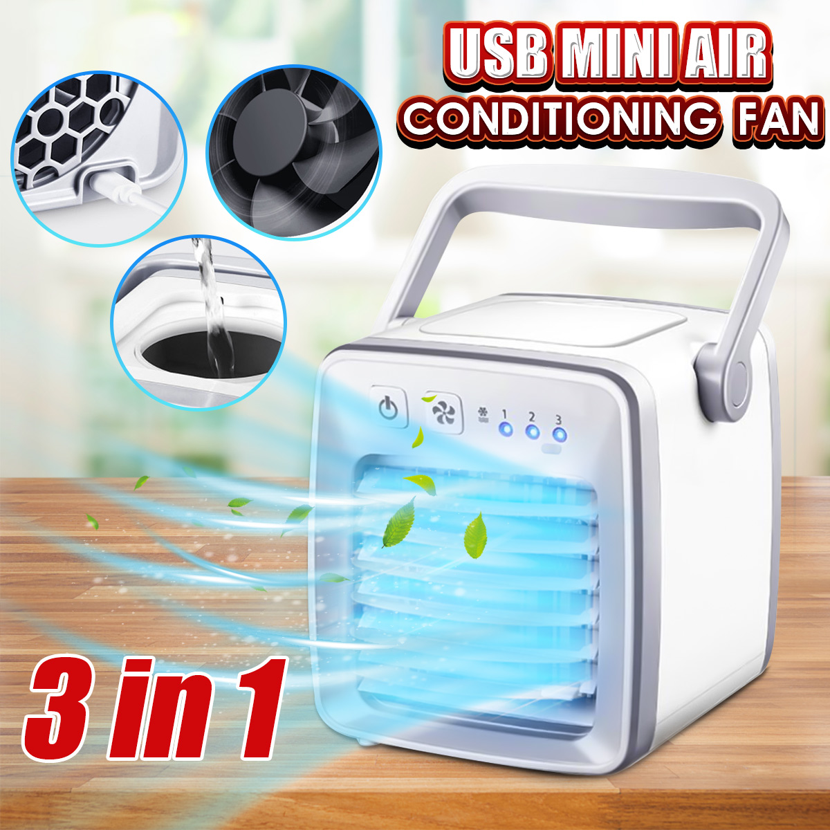 Mini USB Personal Air Conditioner Small Cooling Fan Portable Handle Desktop Quiet Cooler for Summer