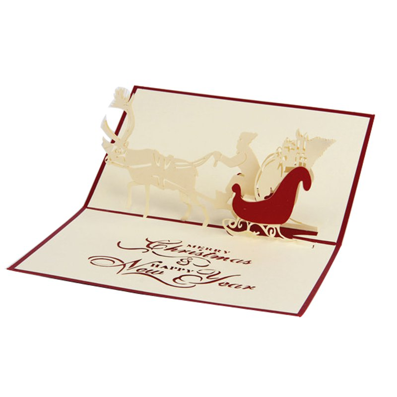 Christmas 3D Elk Santa Clause Stereo Greeting Cards Gifts