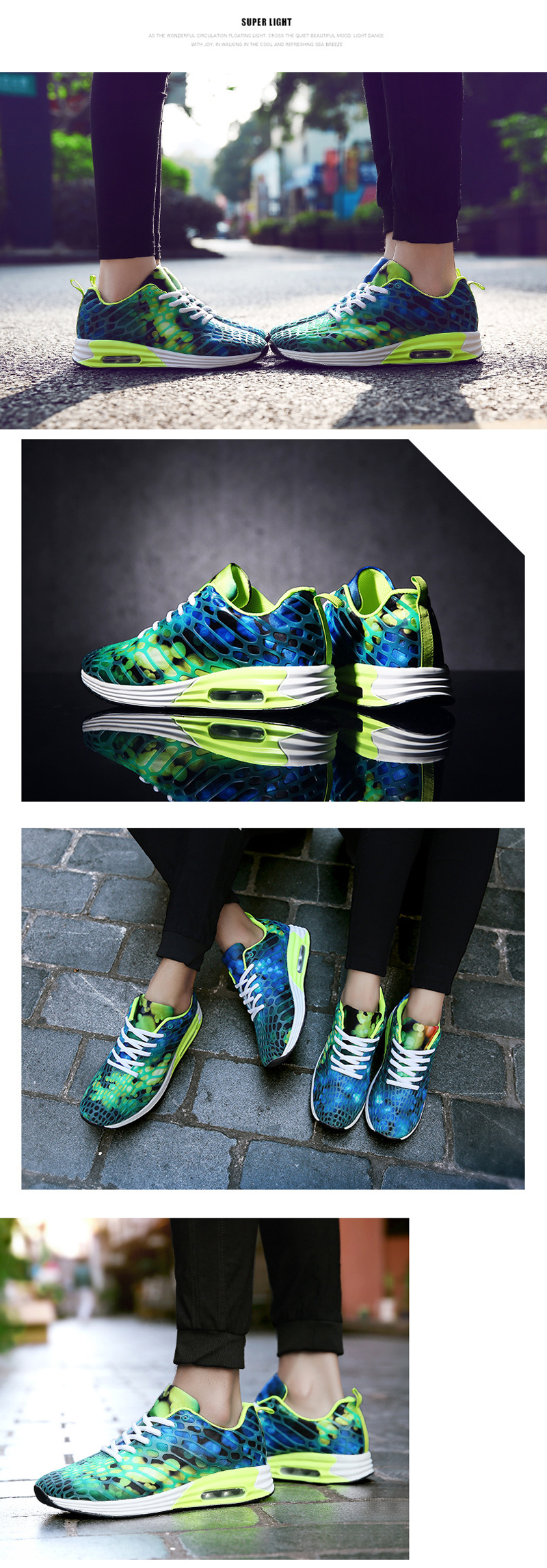 RY-5022 Air Cushion Camouflage Net Casual Women Sneakers Shock-absorbent Couple Sport Running Shoe