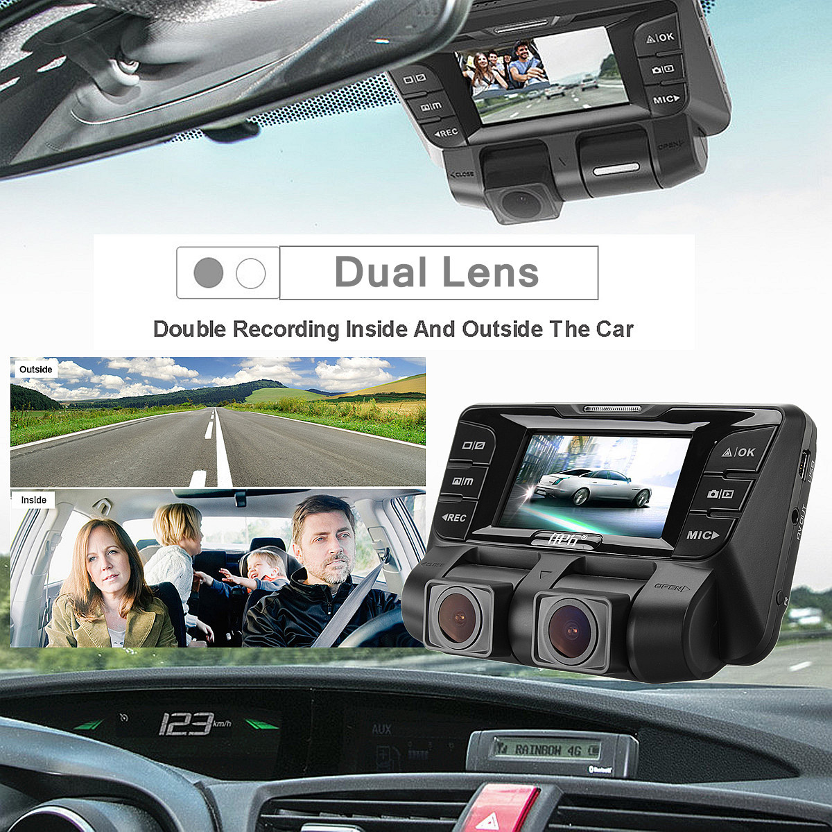2.7 Inch 1080P 4K HD Hidden Wifi Car DVR Camera Video Recorder Dash Cam Dual Lens