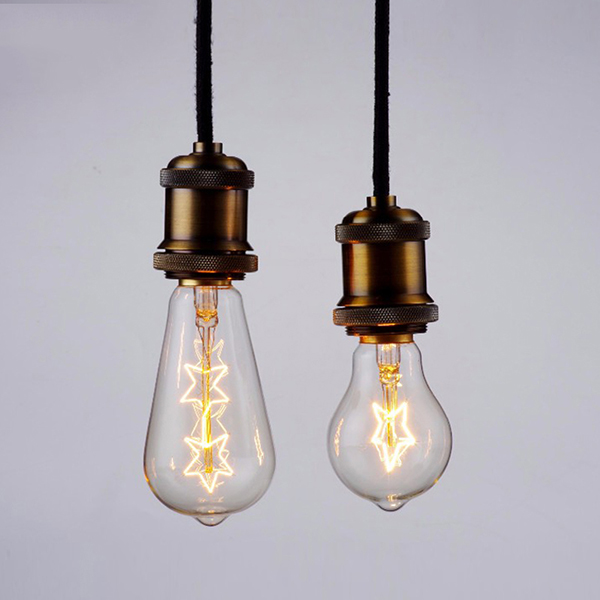 E27 40W ST64 Warm White Single Double Star Shape Vintage Edison Incandescent Light Bulb AC220V