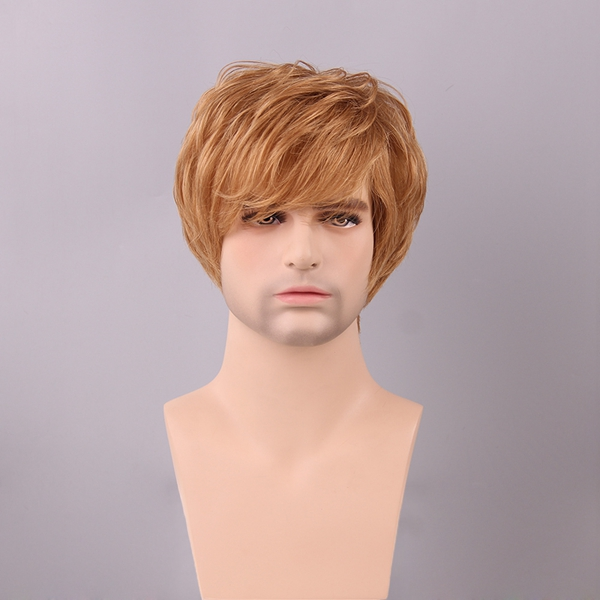 Dark Ash Blonde Men Short Human Hair Wig Side Bang Male Mono Top Virgin Remy Capless