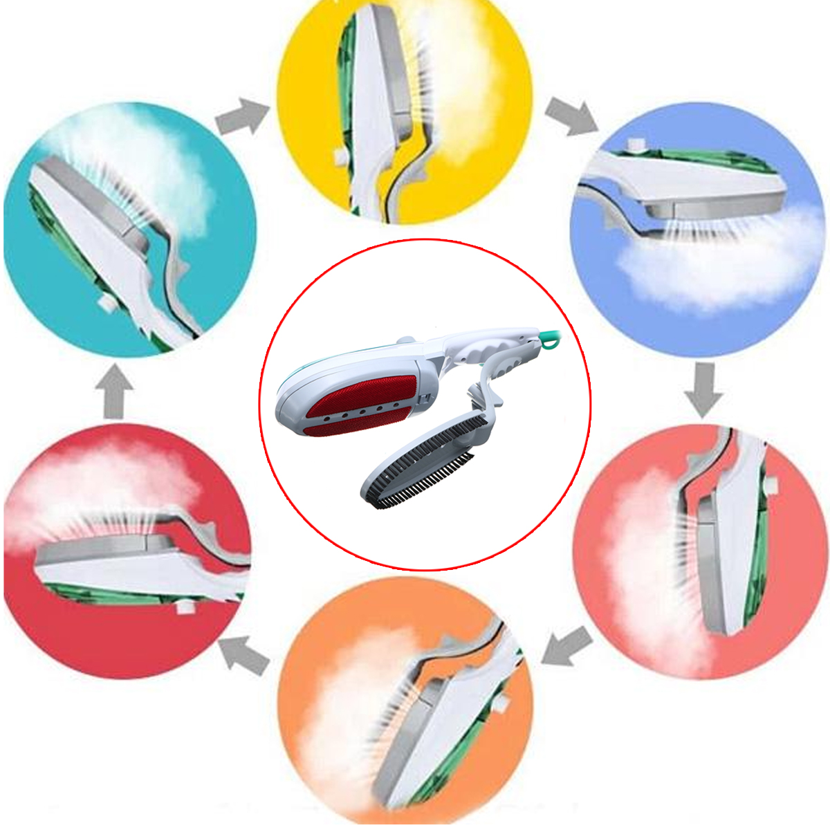650W Portable Travel Handheld Garment Clothes Iron Electric Brush Remove Steamer