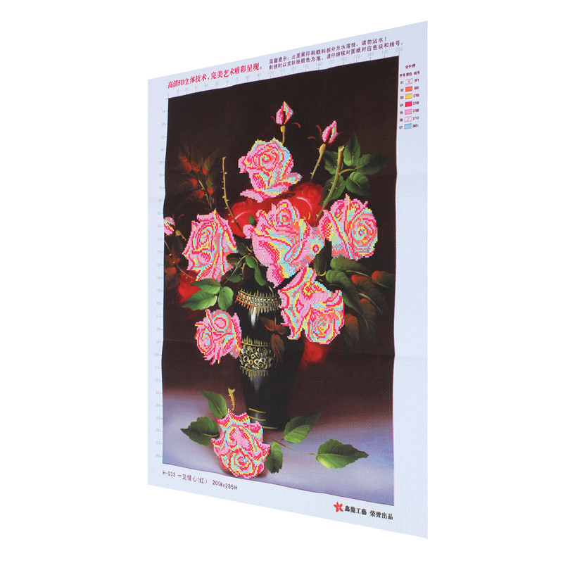 40x46cm DIY Cross Stitch Kit Embroidery Three Color Rose Flower Home Decoration