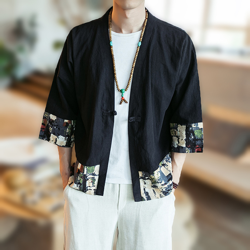 Mens Cotton Linen Printing Splice Chinese Style Jacket Coat