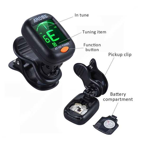 AROMA AT-101 Portable Clip-on Guitar Bass Violin Ukulele Tuner Tuning