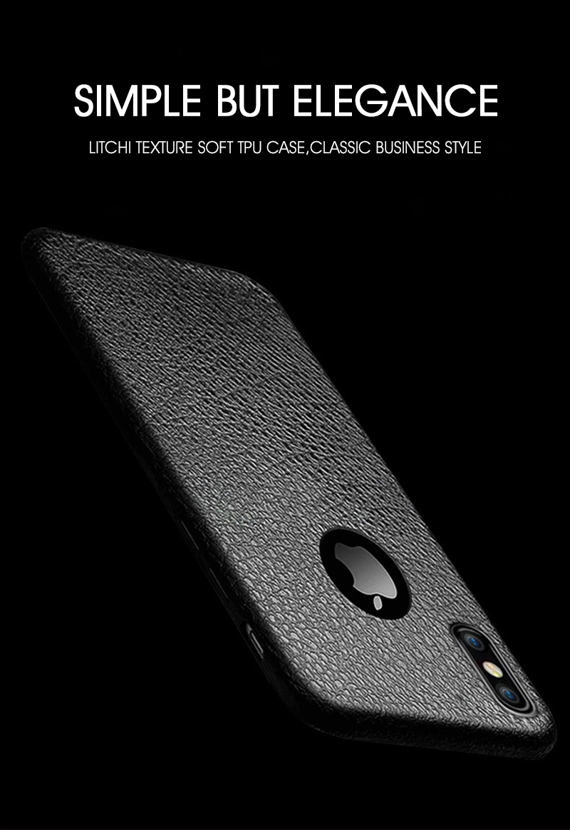 Litchi Leather Texture Sweatproof Soft TPU Case For iPhone X