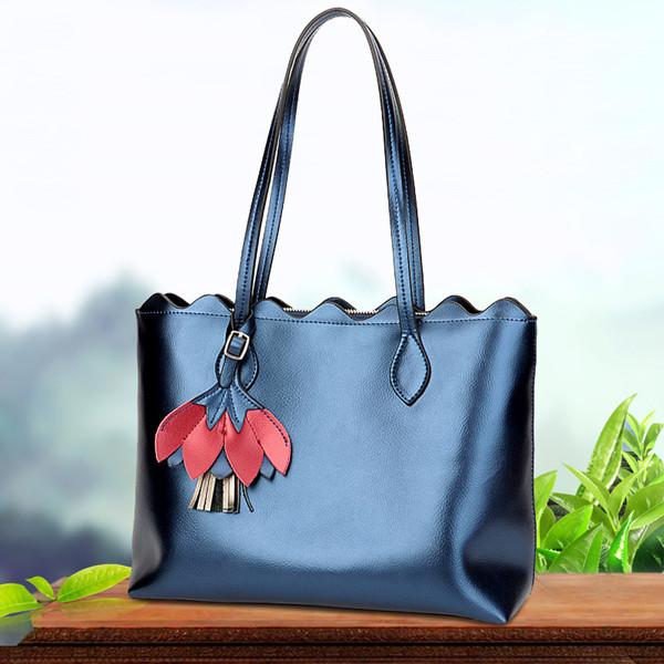 Women Genuine Leather Solid Handbag Large Capacity