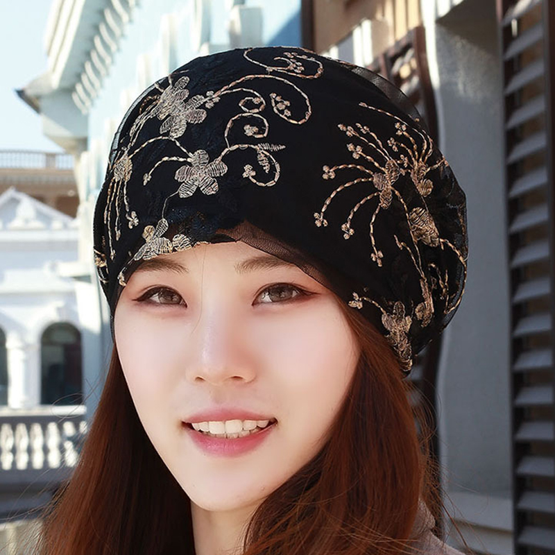 Women Breathable Flower Turban Hat Floral Chemo Caps