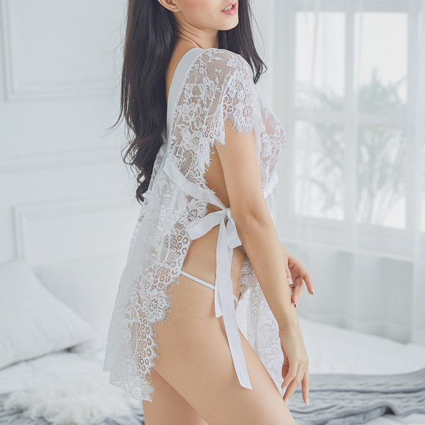 Seduced Lace Double V Straps See Through Nightdress