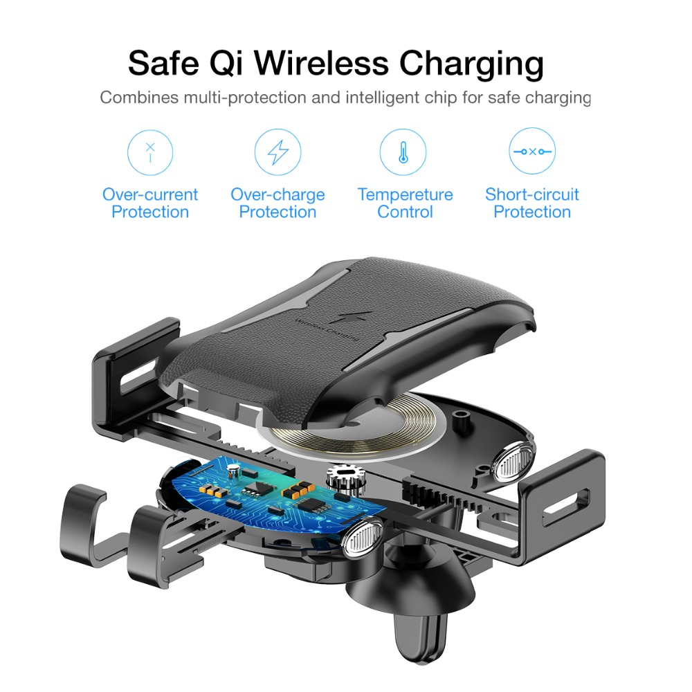 FLOVEME 10W 360 Degree Rotation Automatic Clamping Qi Fast Wireless Car Charger Holder For iPhone X Xs Max Xiaomi MI8 MI9 S10 S9