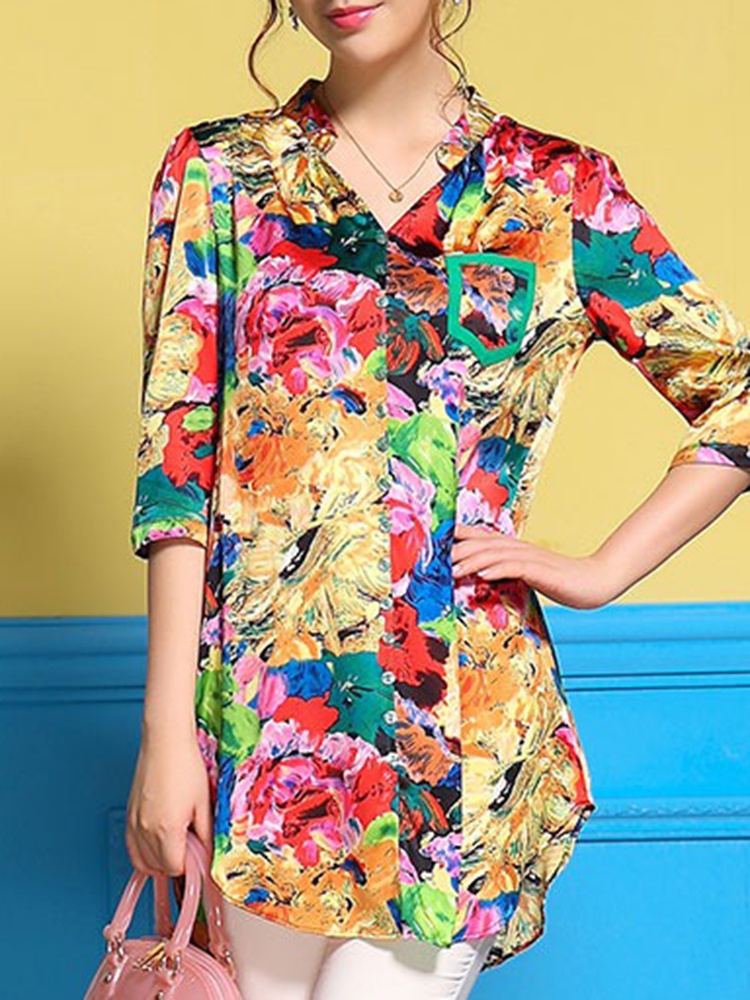 Women Art Print Stand Collar V-Neck Button Half Sleeve Blous