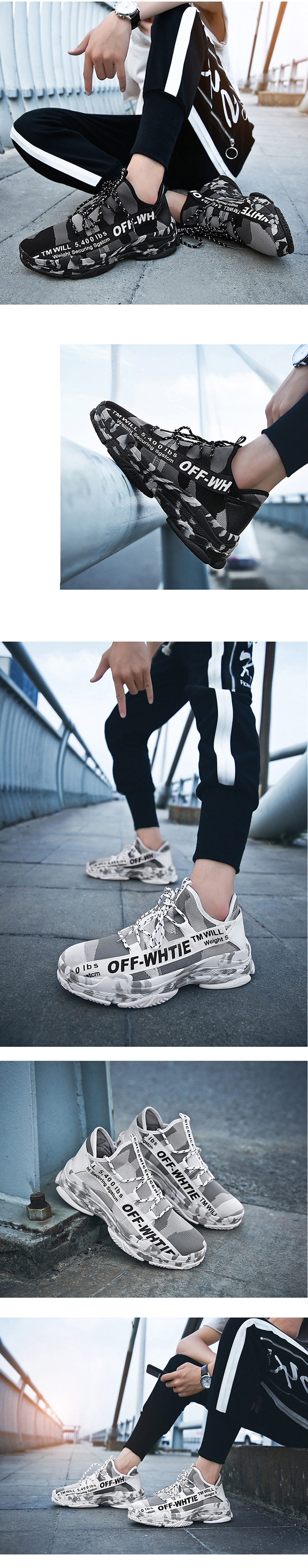 Outdoor Men Lace-up Athietic Breathable Mesh Male Running Jogging Walking Sports Shoes Sneakers