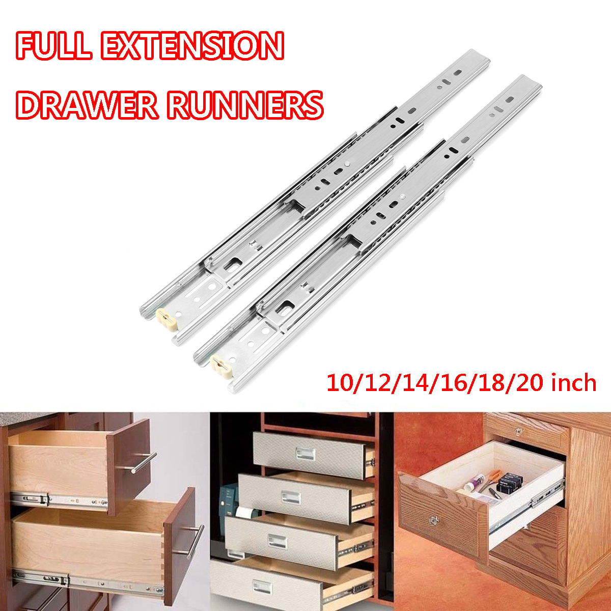 2Pcs 10-20Inch 45mm Full Extension Close Ball Bearing Drawer Runners Slides Cabinet Guide Rail Slide