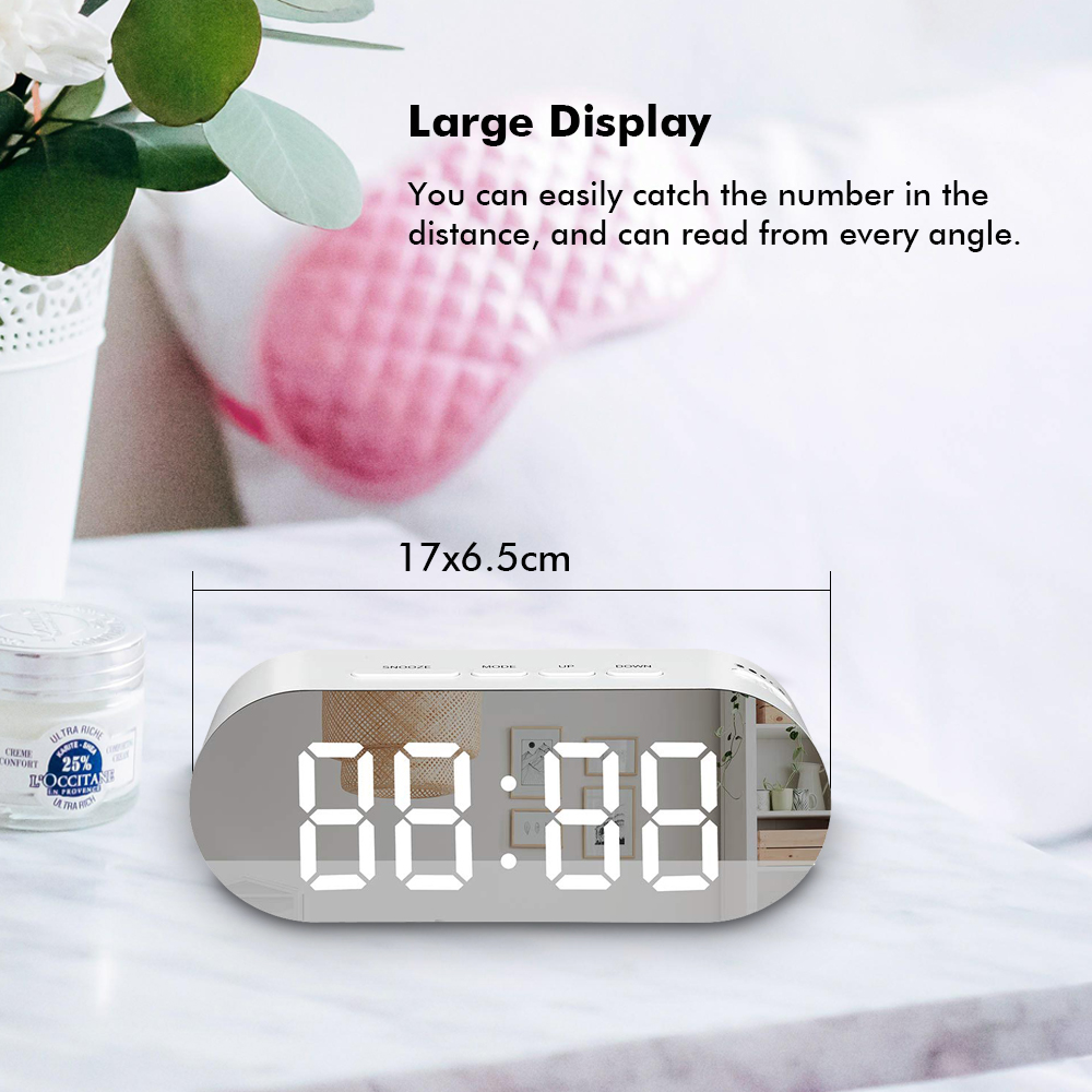 Digoo DG-DM3 Digital Mirror Surface Alarm Clock Dimmer Large LED Display with Dual USB Charge