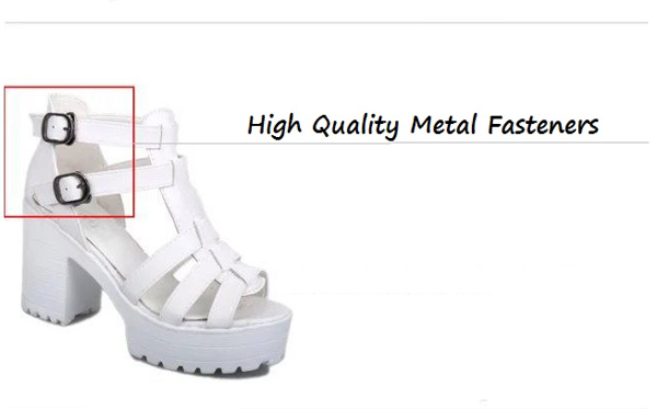 Summer Fashion Ladies PU Leather Ankle Strap Cover Heel Platform Sandals Open Toe Shoes