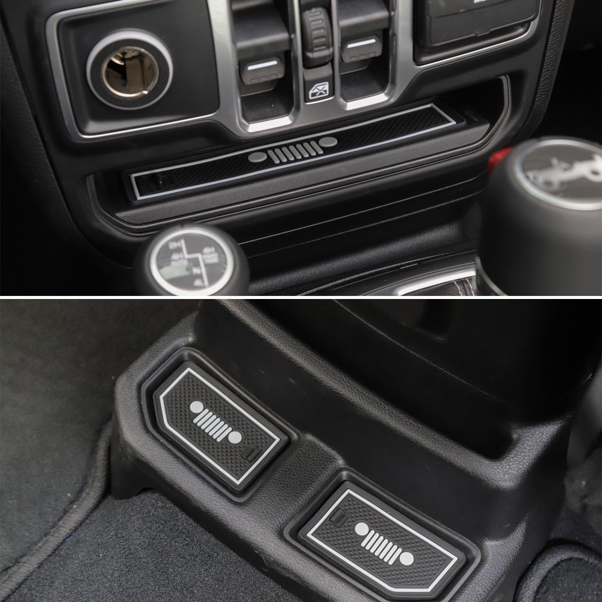 19 Pcs Rubber Car Interior Door Non-slip Cup Slot Pad Dustproof Mat for Jeep for Wrangler JL 2018