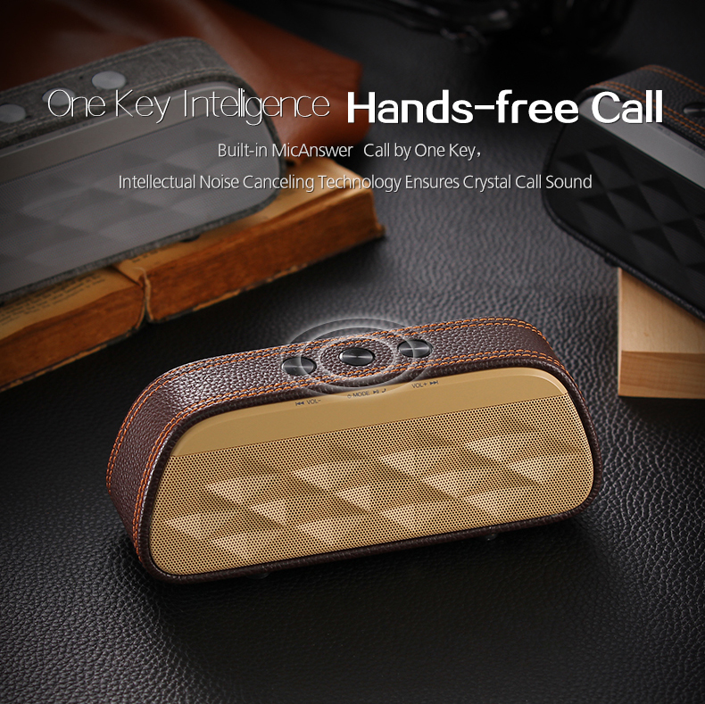Stereo Wireless bluetooth Speaker Leather Portable Subwoofer Hands Free Speaker With Mic