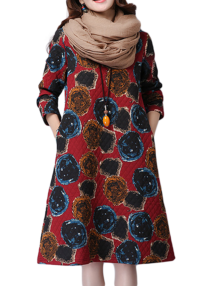 Vintage Linen Printed Long Sleeve Round Neck Midi Dress