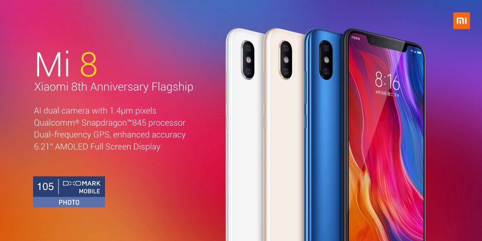 Xiaomi Mi8 Mi 8 Global Version 6.21 inch 6GB RAM 128GB ROM Snapdragon 845 Octa core 4G Smartphone