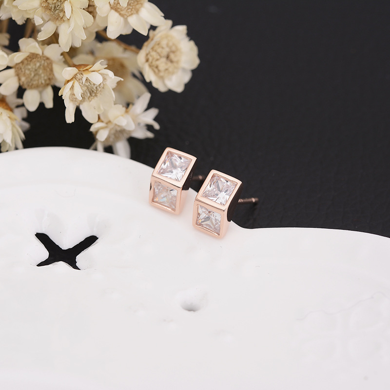 925 Silver Needle Triangle Zircon Crystal Ear Stud Earrings Women Jewelry