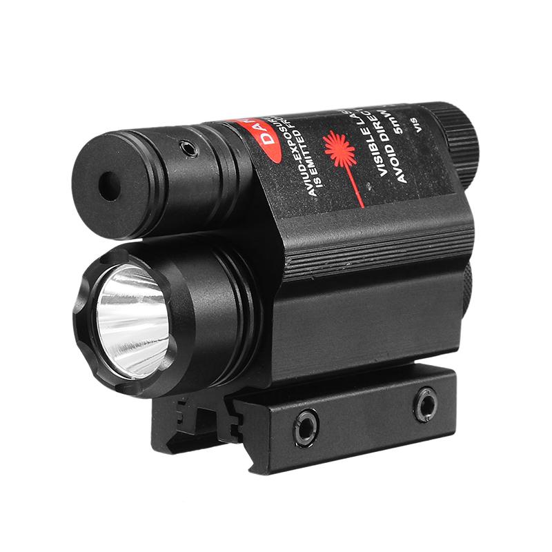 Red Laser Sight Dot Scope & 200 Lumen LED Flashlight Combo Kit Tactical 11/20 Rail Mount