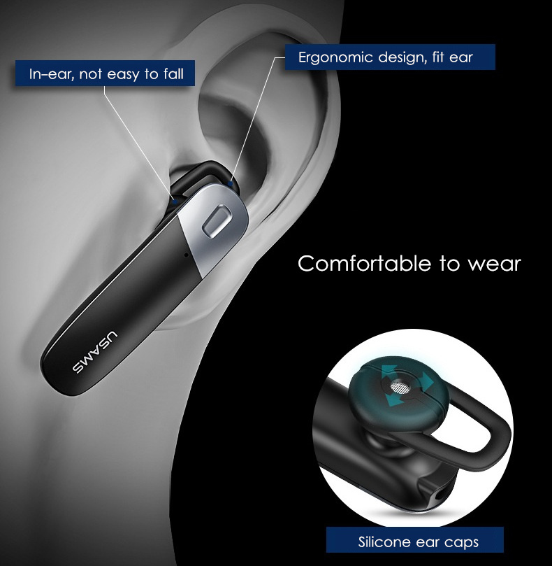 USAMS LD001 Single Ear Wireless bluetooth Earphone Noise Cancelling Headphone for iPhone Samsung