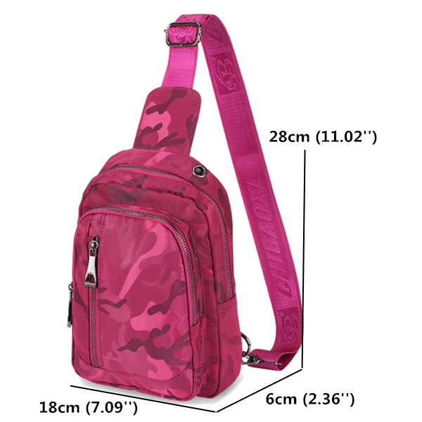 Women Nylon Travel Camouflage Chest Bags Casual Shoulder Bags Outdoor Light Crossbody Bags
