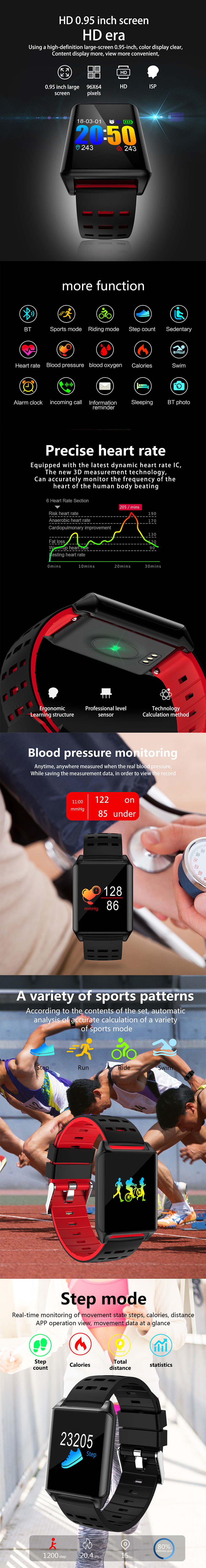 W331 Blood Pressure Monitor IP67 Waterproof Smart Bracelet