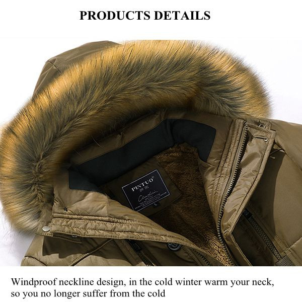 Men Cotton Down Brand Clothing Fur Collar Warm Casual Parka Coat Fashion Winter Jacket