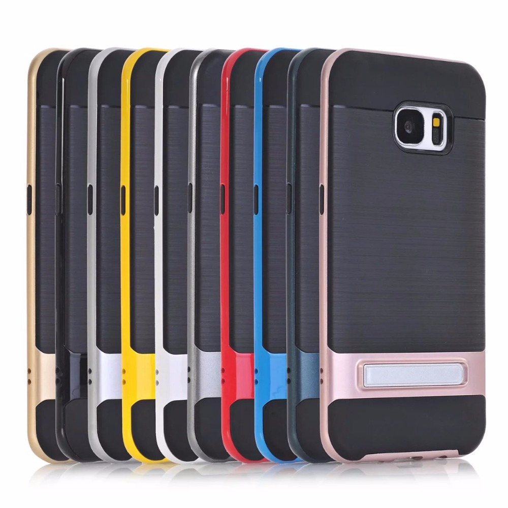 TPU PC Silicon Hybrid Stand Holder Stripe Kickstand Back Cover Armor Case for Samsung Galaxy S7 Edge