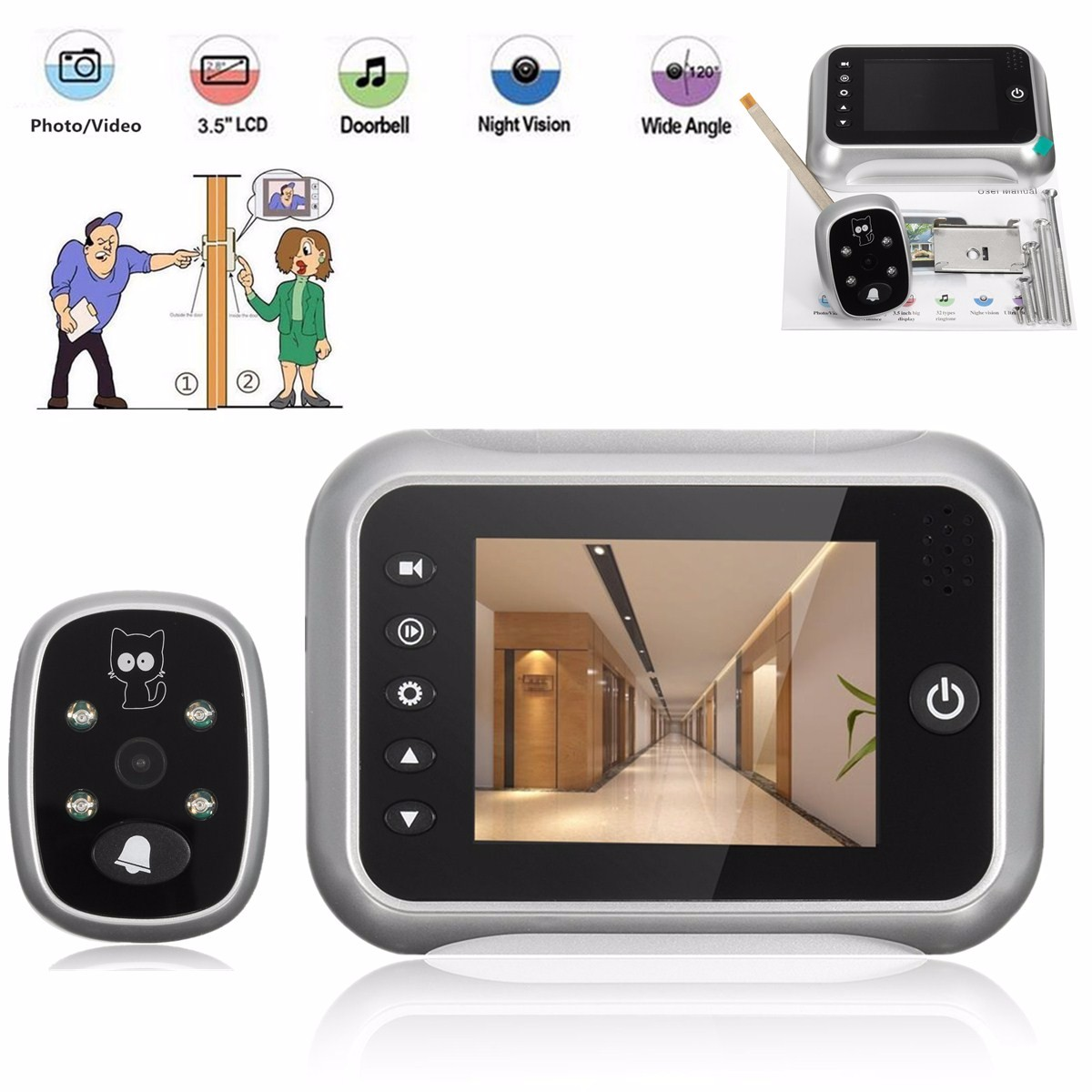 3.5inch LCD Peephole Viewer Doorbell Home Security Monitor IR Camera Night Vision