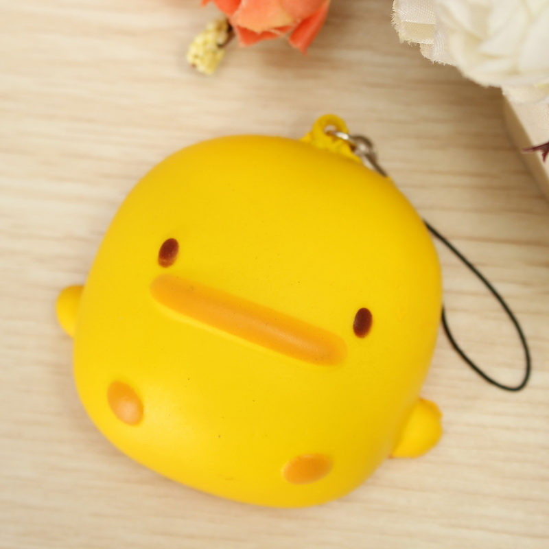 Squishy Yellow Duck Soft Cute Kawaii Phone Bag Strap Toy Gift 7*6.5*4cm