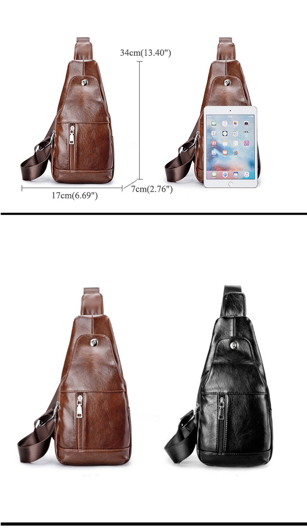Men Soft Leather Casual Crossbody Sling Bag