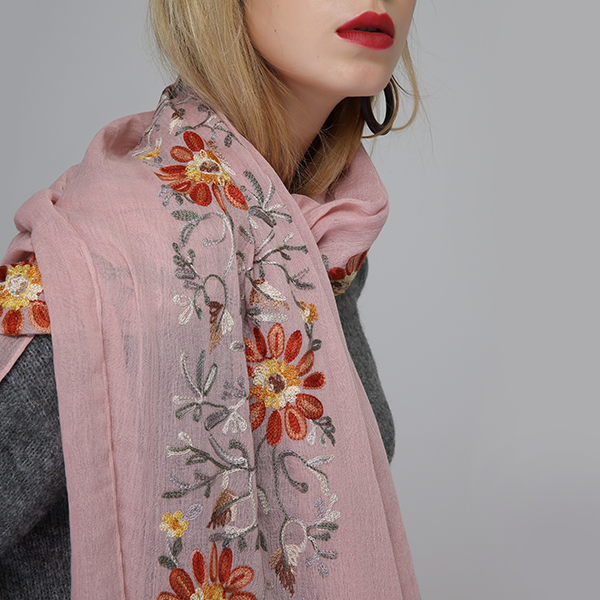 Linen Embroidery Printting Scarves Summer Flower Shawl