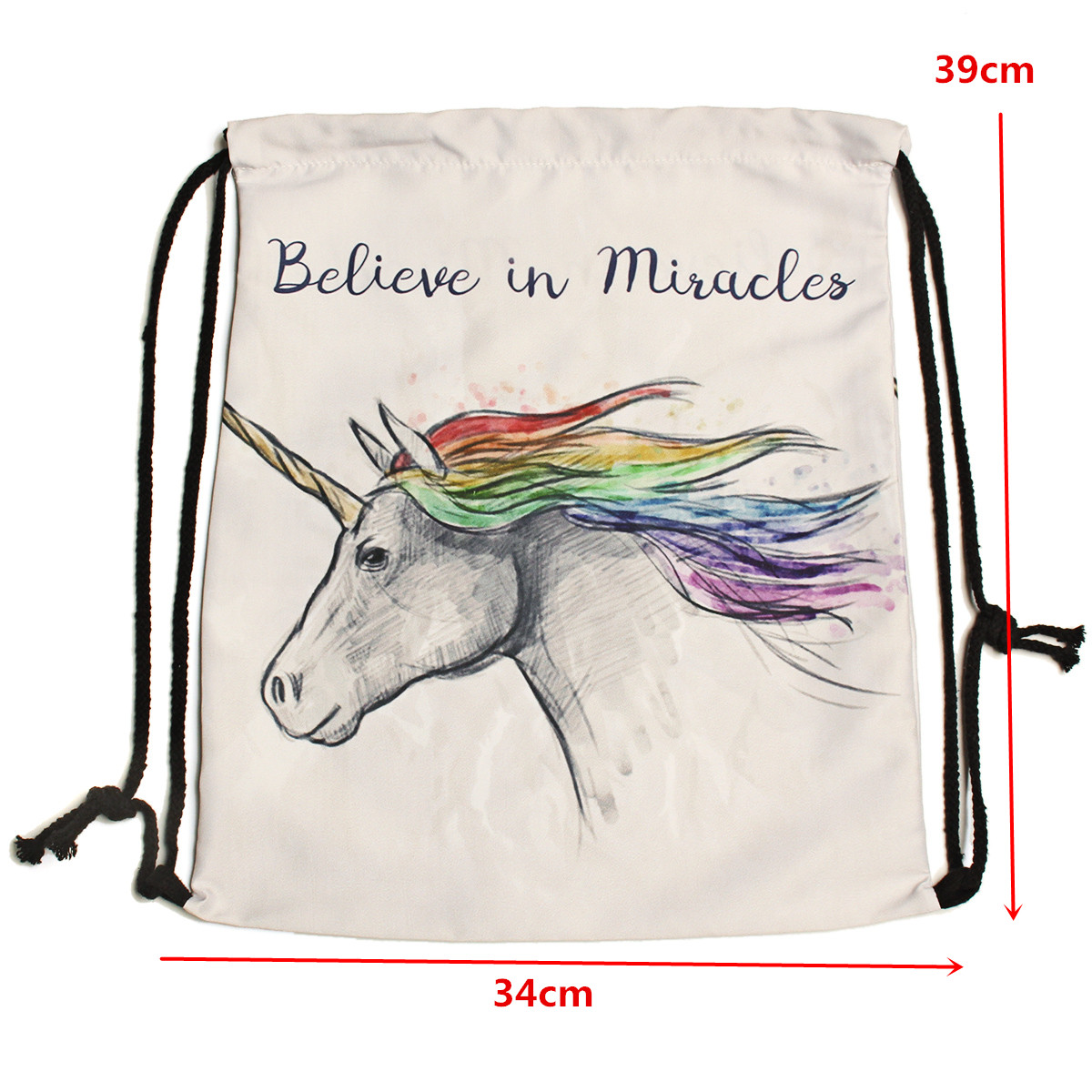 IPRee® Unicorn Polyester Drawstring Backpack Travel Pouch Student College Schoolbag Rucksack