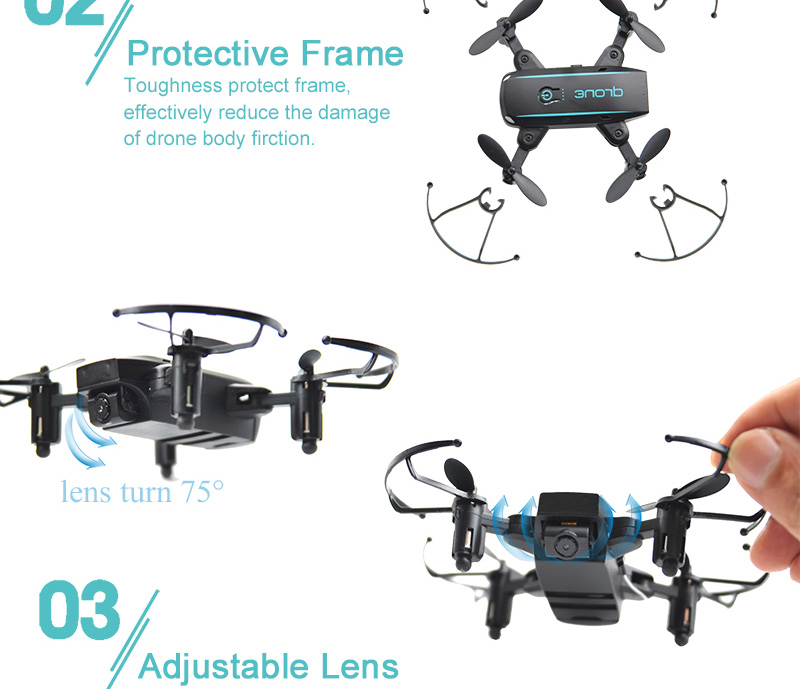 JX 1601HW Mini WIFI FPV With 720P Camera Altitude Mode Foldable Arm RC Drone Quadcopter RTF