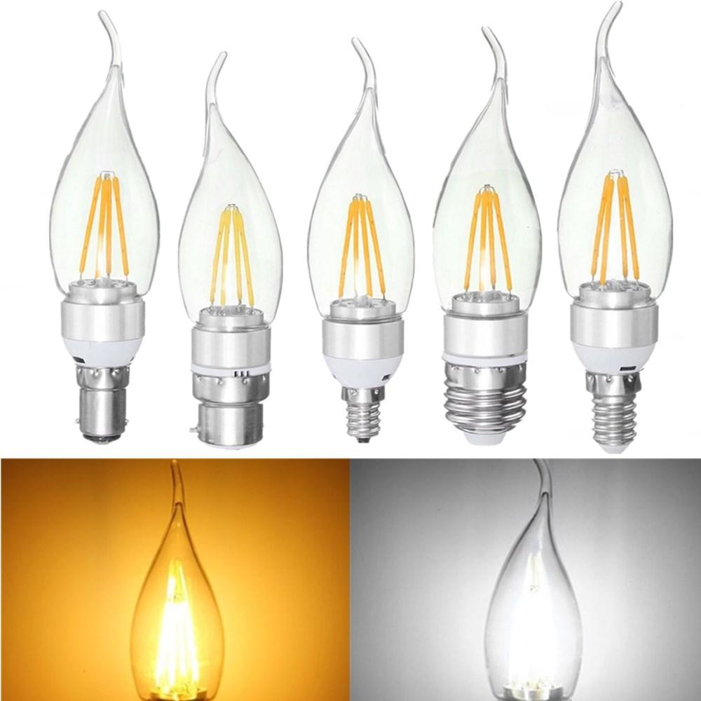 E27 E14 E12 B22 B15 4W Silver Pull Tail Incandescent Light Lamp Bulb Non-Dimmable 110V