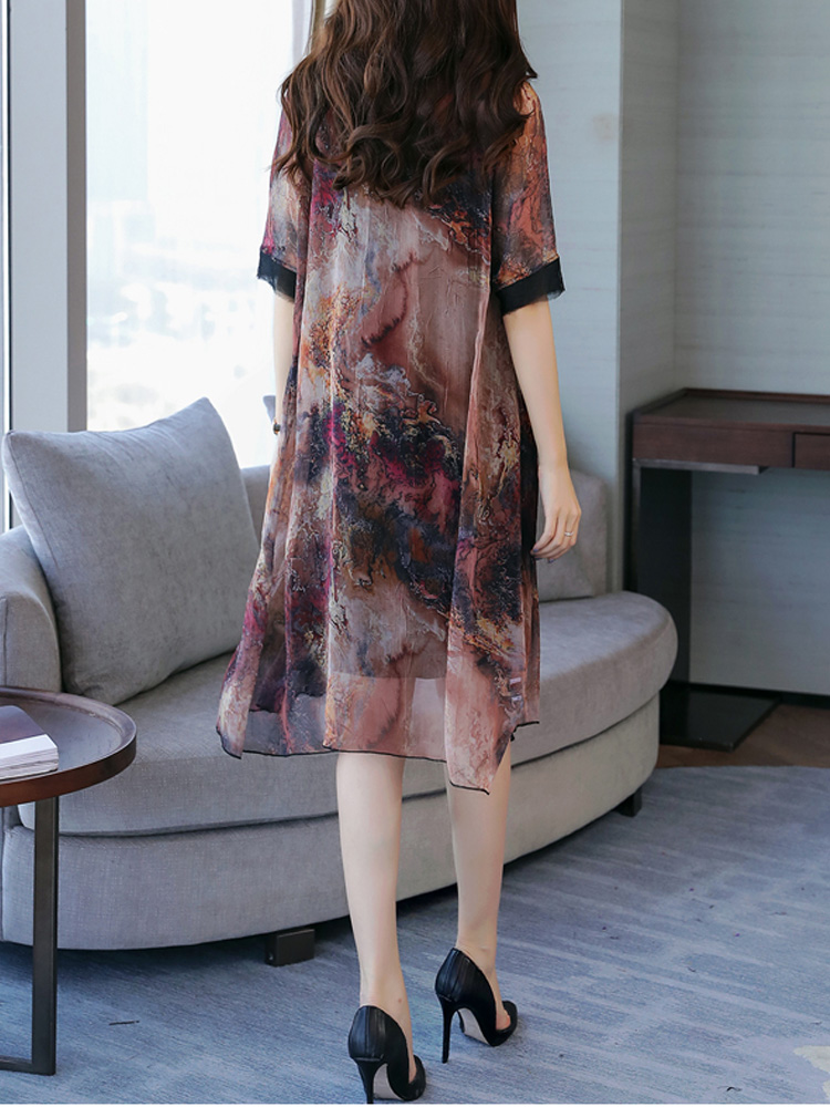 Women Floral Print Semi-sheer Two Pieces Dress