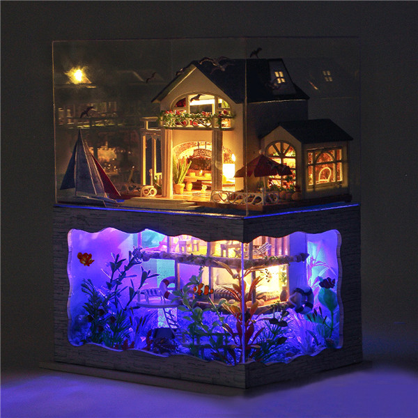T-Yu DIY Hawaii Villa Wooden Miniature Dollhouse Kit Birthday Christmas Gift Doll House Collection