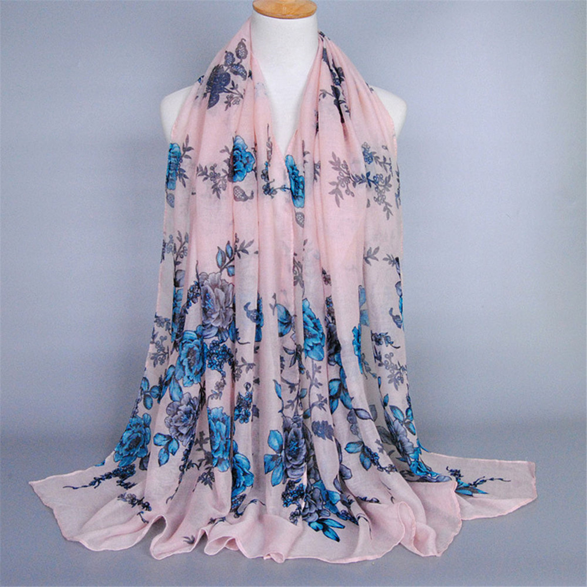 Women Scarf Voile Flower Printing Floral Pattern Cotton Long Shawl Neck Wrap Pashmina